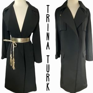 Trina Turk open front long black trench coat size 10